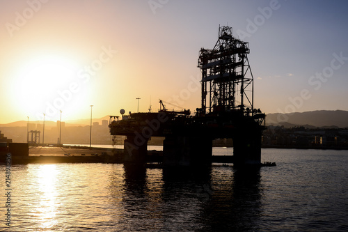 Silhouette of an offshore drilling rig