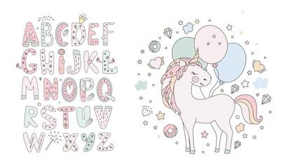 Unicorn vector sweet cute illustration. Magic fantasy design. Cartoon rainbow animal isolated horse. Fairytale unicorn print poster.