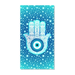Card with stars and ornate hamsa with a shadow on a white background, top view.