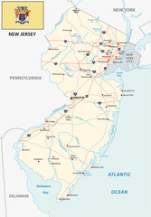 new jersey road map with flag