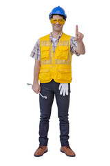 Arab engineer man wear blue cap safety helmet. isolated background with clipping path