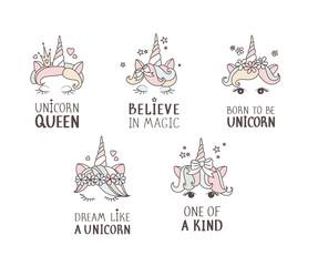 Unicorn sweet cute illustration. Magic fantasy design. Cartoon rainbow animal isolated horse. Fairytale unicorn print poster.