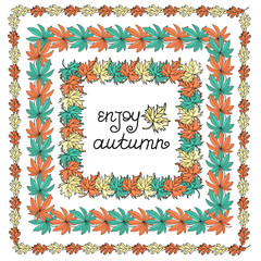 Autumn Clipart Vector Illustration Set Color AUTUMN WREATH for Scrapbooking Babybook and Digital Print on Card And Photo Children Album