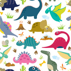Cute dino seamless pattern