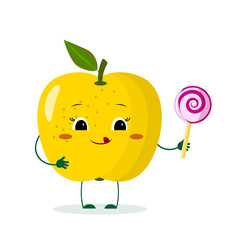 Cute yellow apple cartoon character with crown holds a lollipop.