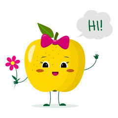 Cute yellow apple cartoon character with a pink bow holding a flower and welcomes.
