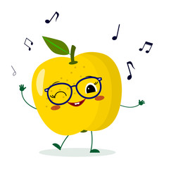 Cute yellow apple cartoon character in glasses dances to music.