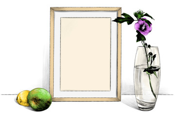 template picture in frame standing on the table next to a glass vase with a flower and with an Apple and lemon, sketch vector graphics color illustration on white background