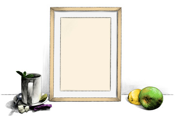 template picture in a frame standing on the table next to a Cup of tea on a saucer with a teaspoon of lime and sugar pieces and with Apple and lemon, sketch vector graphics color illustration