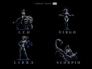 Zodiac signs. Vector illustration.