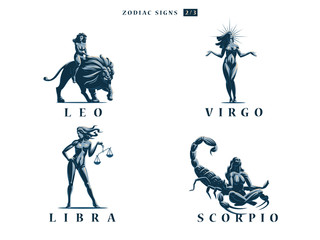 Zodiac signs. Vector illustration.