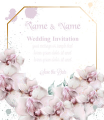 Orchid flowers wedding card watercolor Vector. Beautiful floral decors