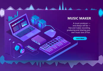 Vector 3d isometric template for site construction. Violet laptop, piano keyboard for music making, creation. Ultraviolet smartphone, headphones with loudspeakers. Portal with audio devices, dj stuff
