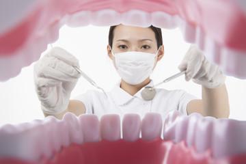 歯科器具を持って歯の治療をする白衣を着た女性