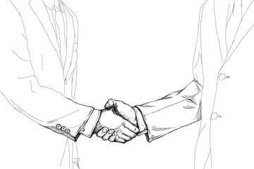 creative drawing sketch of two businessman shaking hand each other for make a deal after the agreement isolated on white background