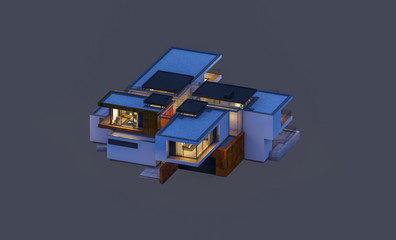 3d rendering of modern house at night isolated on gray.