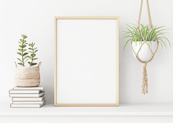 Home interior poster mock up with horizontal metal frame, succulents in basket and pile of books on white wall background. 3D rendering. Fototapete