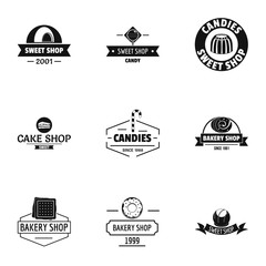 Piece of cake logo set. Simple set of 9 piece of cake vector logo for web isolated on white background