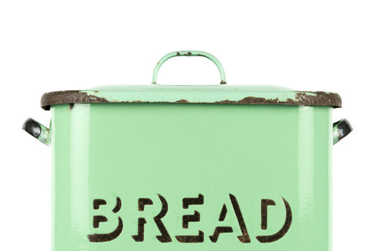 Wording on the side of a vintage 1930s British green enamel bread bin. Potential use as background for recipe / ingredients / bakery price list.