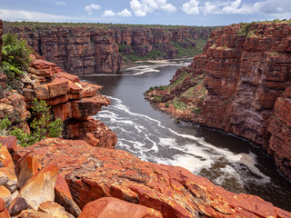 Landscape view looking into the gorge and tidal inlet below the twin falls on the King George River, Kimberley, Australia