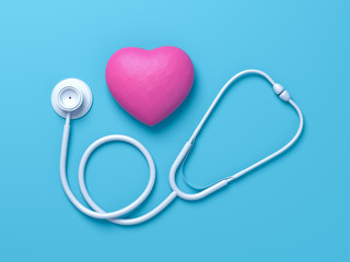 World health day, Healthcare and medical concept. Red heart with Stethoscope on Pastel blue table background. Creative minimal flat lay idea. 3d render