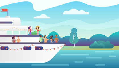 Smiling people friends making fancy party on yacht ferry ship. Vacation, sea travel and friendship concept vector illustration.