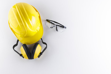 Construction Safety Equipment on White Background with Copy Space