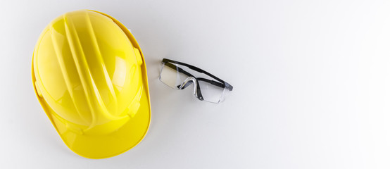 Protective Goggles and Hard Hat on White Background Banner Image