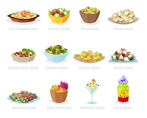 Salad vector healthy food with fresh vegetables tomato or potato in salad-bowl or salad-dish for dinner or lunch illustration set of organic meal diet isolated on white background