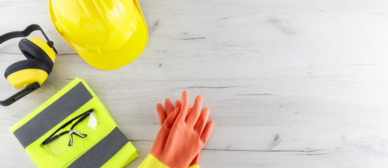 Banner Image of Construction Safety Gear with Copy Space