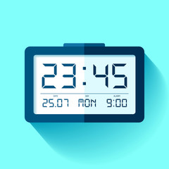 Digital Clock icon in flat style, timer on blue background. 23:45. Simple watch. Vector design element for you business projects