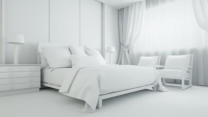 Weißes Schlafzimmer oder Hotelzimmer