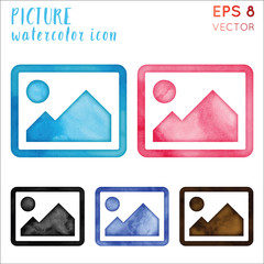 Picture watercolor icon set. Authentic hand drawn style symbol. Brilliant watercolor symbol. Modern design for infographics or presentation.