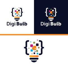 digital code bulb logo design element