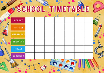Template of school timetable with days of week and free spaces for notes. Hand drawn watercolor Illustration with school supplies