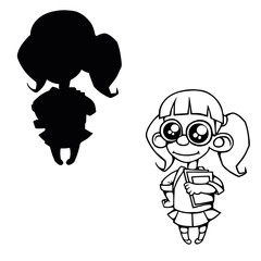 a cartoon girl with glasses and a book contour