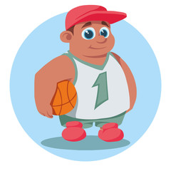 cartoon boy with basketball vector illustration