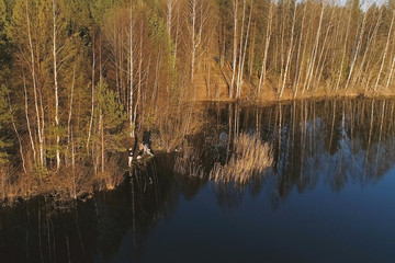 Picturesque landscape with riverbank and forest. Flying photo, top view.