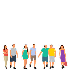 Wall Mural - isolated, set of walking people