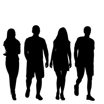 set of silhouettes of walking people