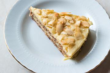 Slice of Swedish Almond Cake served with Plate.