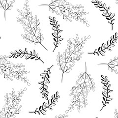 Vector seamless outline leaves pattern. Black and white backgrou