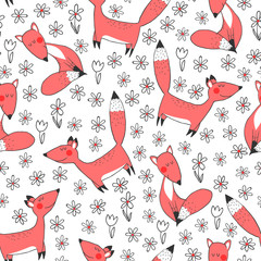 Fototapete - Seamless pattern with fox and flowers