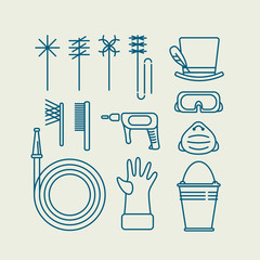 icons of chimney sweep tools