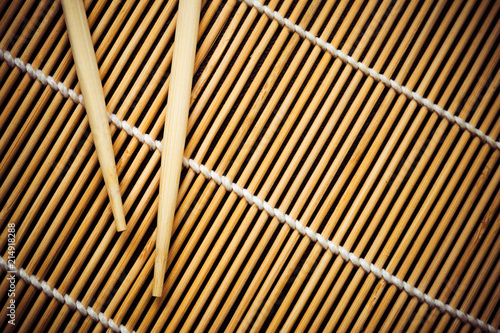 Bamboo Mat And Chopsticks For Sushi View From Above