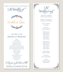 Navy blue wedding program. Vector illustration.