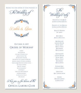Navy blue wedding program. Vector illustration.