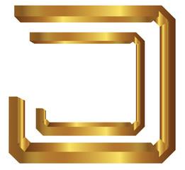 Golden letter J on white background