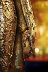 close up golden buddha hand