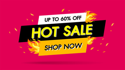Hot Sale Fire Burn template banner concept design, Big sale special 60% offer.End of season special offer banner shop now. vector illustration.